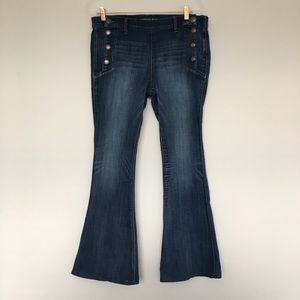 Express Bell Flare Mid Rise Medium Wash Jeans